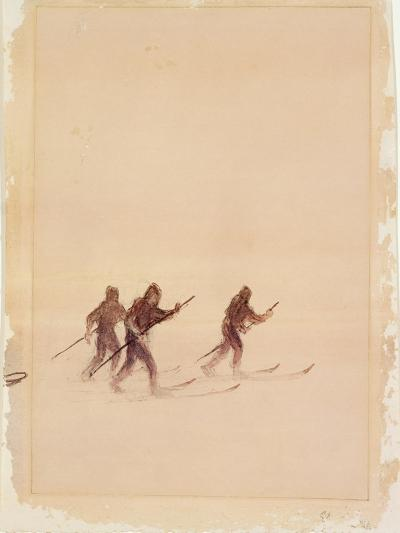 Men on Skis-Edward Adrian Wilson-Giclee Print