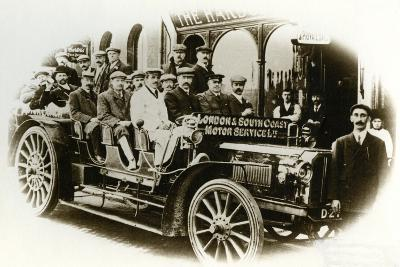 Men Only Coach Outing from the Harbour Hotel, Folkestone, C.1905--Photographic Print