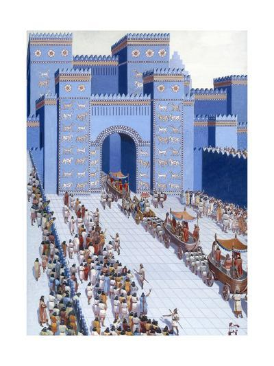 Men Parade Statues of Gods into Babylon Through Ishtar Gate-H.M. Herget-Giclee Print