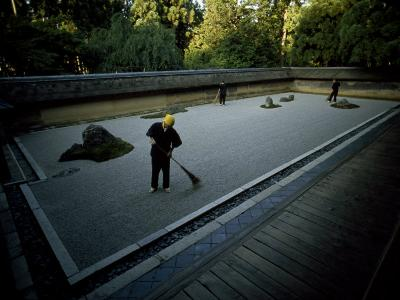 Men Rake the Famous Rock Garden at the Zen Ryoanji Temple-Paul Chesley-Photographic Print