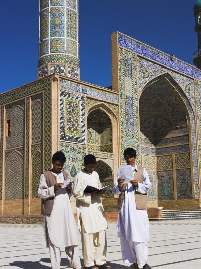 Men Reading in Front of the Friday Mosque or Masjet-Ejam, Herat, Afghanistan-Jane Sweeney-Photographic Print