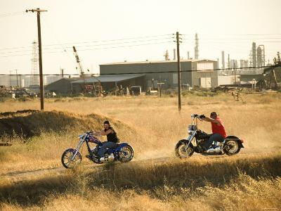 Men Riding Custom Motorcycles on Dusty Road--Photographic Print