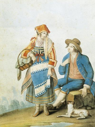 Men's and Women's Fashion Plate Depicting Typical of Pietracamela in Abruzzo Region--Giclee Print