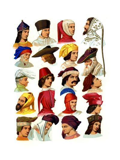 Men's Hats of Different Classes of Society, 13th-16th Century-Thurwanger Freres-Giclee Print