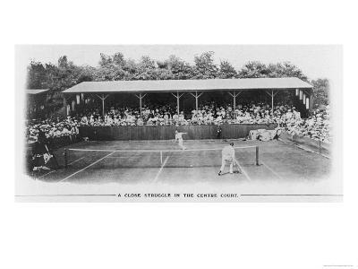 Men's Singles Match on Centre Court at Wimbledon--Giclee Print
