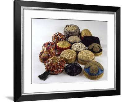 Men's Skullcaps, from Herat, Mazae-E Sharif and Kabul, from Early Twentieth Century to 1970--Framed Giclee Print