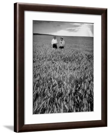 Men Standing in Wheat Field-Hansel Mieth-Framed Photographic Print