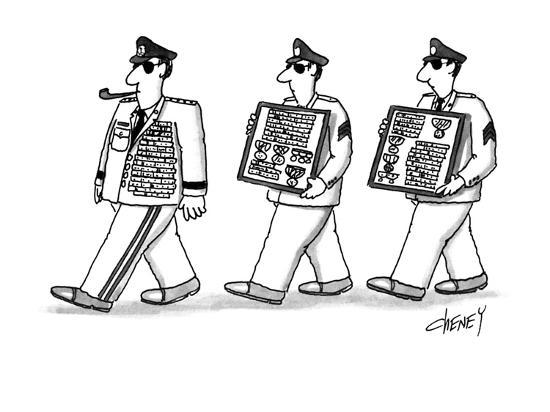 Men walking after general with this extra medals. - New Yorker Cartoon-Tom Cheney-Premium Giclee Print