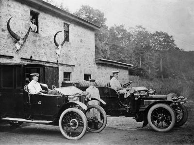 Men with 1905 Lanchester and 1906 Daimler at Fort Augustus, Scotland, 1907--Photographic Print