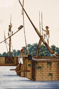 Men Working at the Side of a Riverbank, from Thanjavur, India