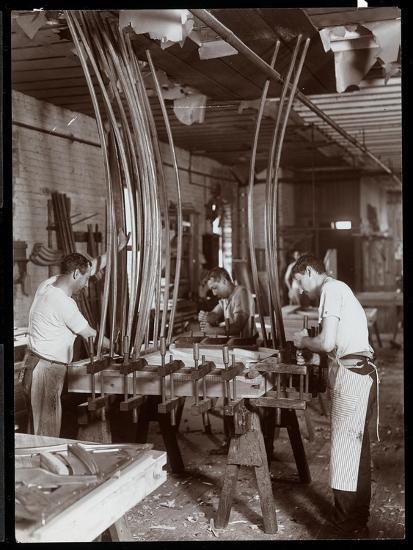 Men Working in a Piano Factory, 1907-Byron Company-Giclee Print