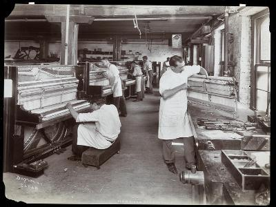 Men Working in the Hardman, Peck and Co. Piano Factory, New York, 1907-Byron Company-Giclee Print