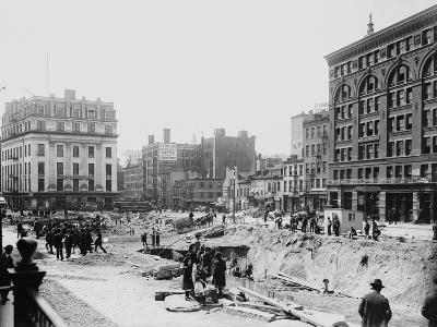 Men Working on Centre and Grand Street--Photographic Print