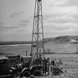 Men Working on Core Drilling Operations at Garrison Dam in the Missouri Valley