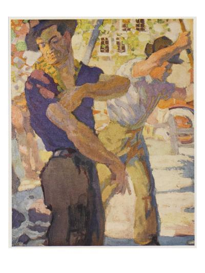 Men Working on Water--Giclee Print