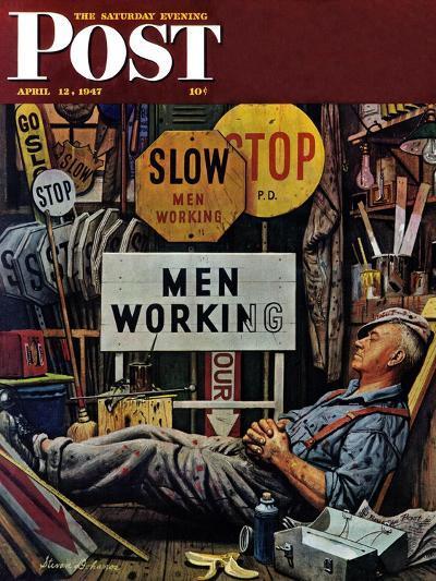 """Men Working,"" Saturday Evening Post Cover, April 12, 1947-Stevan Dohanos-Giclee Print"