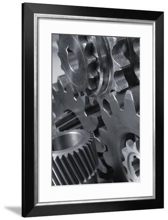 Menagerie Of Cogwheels, Gears Connecting In Black And White-lagardie-Framed Photographic Print