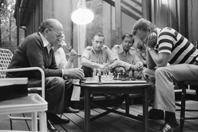 Menahem Begin and Zbigniew Brzezinski Play Chess at the Camp David Summit, 1978