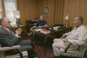 Menahem Begin Jimmy Carter and Anwar Sadat at Camp David Summit, 1978