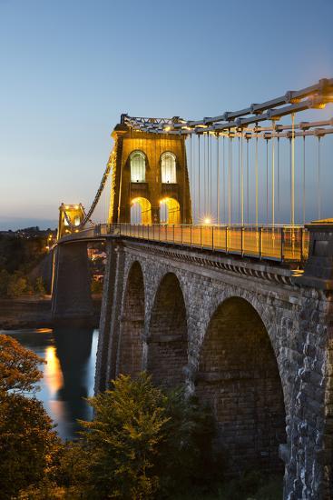 Menai Suspension Bridge at Night, Built in 1826 by Thomas Telford, Bangor, Gwynedd, Wales, UK-Stuart Black-Photographic Print