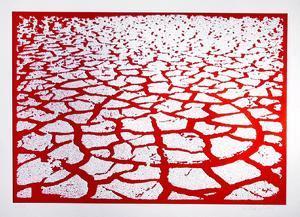 Red Cracks by Menashe Kadishman