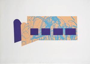 Untitled - Four Purple Squares by Menashe Kadishman