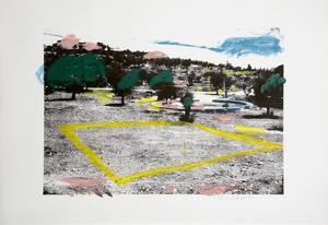 Untitled - Landscape and Yellow Square by Menashe Kadishman