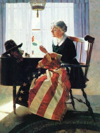 Mending the Flag-Norman Rockwell-Giclee Print