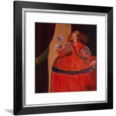 Menina in Red with Small Cockerel-Marisa Leon-Framed Giclee Print