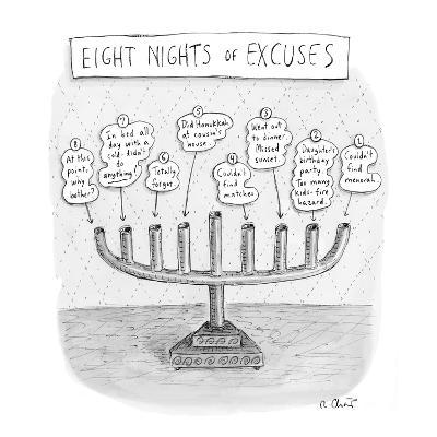 Menorah details why it was never lit during the holiday. - New Yorker Cartoon-Roz Chast-Premium Giclee Print