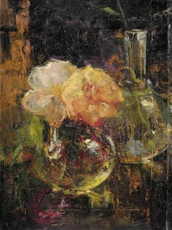 Bouquet of Yellow Roses in a Decanter, Behind a Bottle