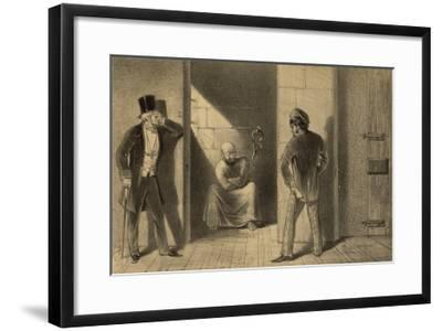 Mental Patient Confined in a Strait-Jacket is Chained Barefoot in a Small Bare Cell--Framed Giclee Print