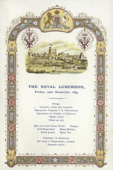 Menu for the Royal Luncheon--Giclee Print