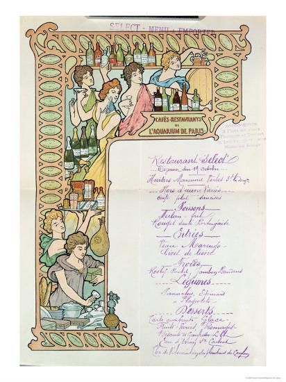 Menu from the Cafe Restaurants from the Aquarium de Paris--Giclee Print