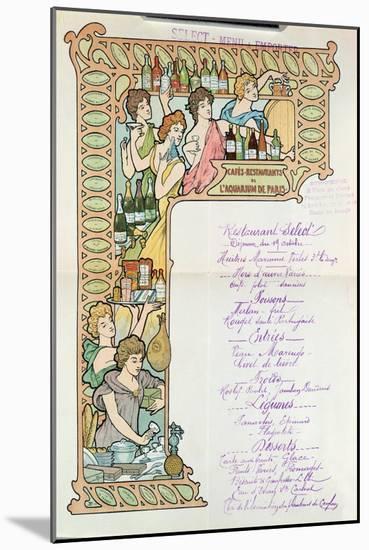 Menu from the Cafe Restaurants from the Aquarium de Paris--Mounted Giclee Print