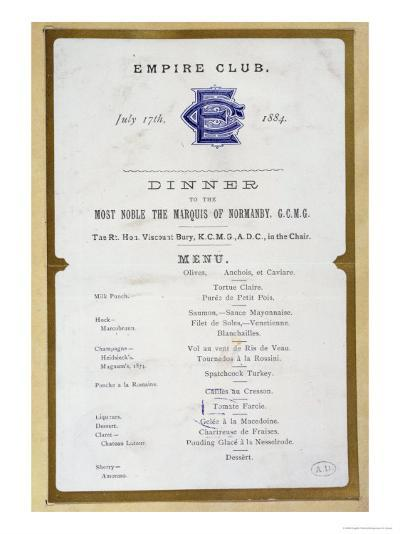 Menu from the Empire Club, 17th March 1884--Giclee Print
