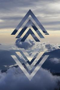 Abstract Sky Geometric Landscape - Mountains and Cumulus Clouds by meow_meow