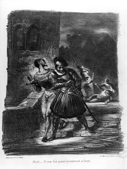 Mephistopheles and Faust Escaping after Valentine's Death-Eugene Delacroix-Giclee Print