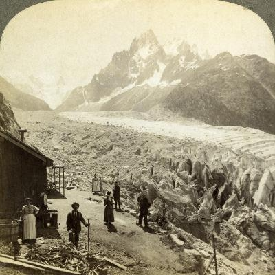 Mer De Glace from the 'Chapeau, Near Chamonix, France-Underwood & Underwood-Photographic Print