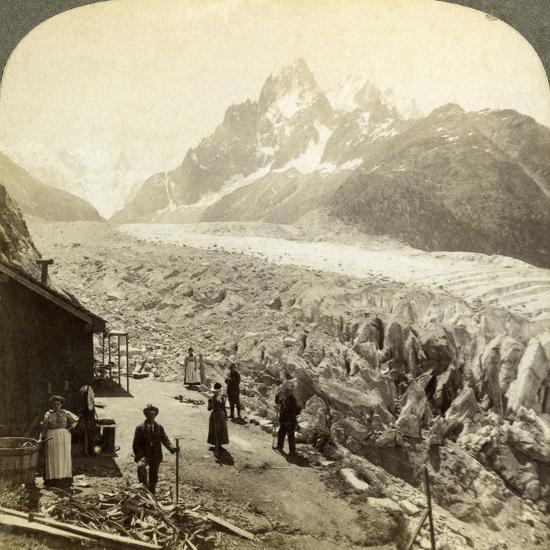 Mer De Glace from the 'Chapeau, Near Chamonix, France-Underwood & Underwood-Photographic Print