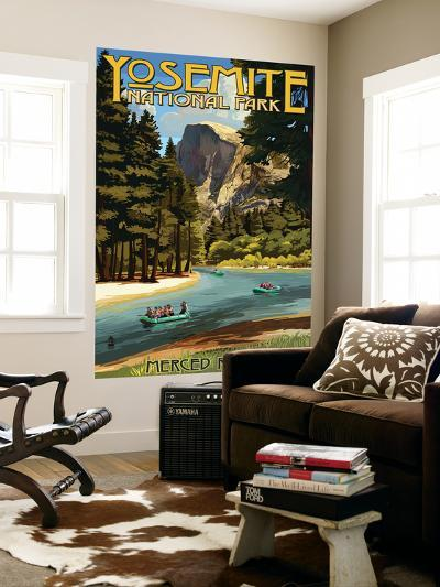 Merced River Rafting - Yosemite National Park, California-Lantern Press-Wall Mural