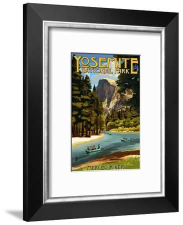 Merced River Rafting - Yosemite National Park, California-Lantern Press-Framed Art Print