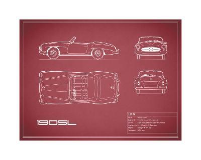 Mercedes 190-SL-Maroon-Mark Rogan-Giclee Print