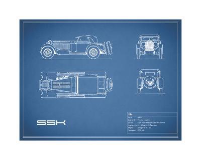Mercedes SSK-Blue-Mark Rogan-Giclee Print