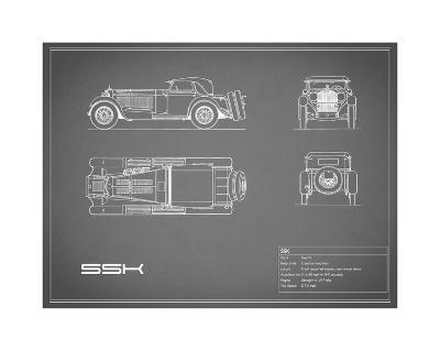Mercedes SSK-Grey-Mark Rogan-Giclee Print