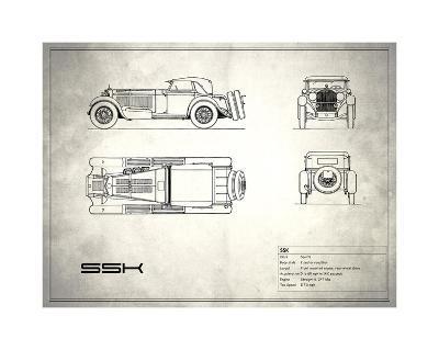 Mercedes SSK White-Mark Rogan-Giclee Print