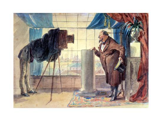 Merchant at the Photographer, 1860S-Petr Mikhailovich Shmel'kov-Giclee Print