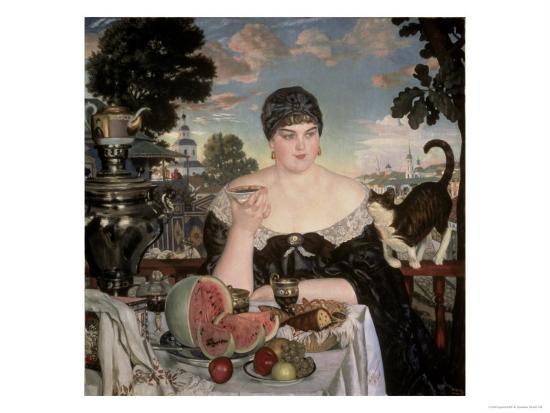 Merchant's Wife Having Tea-B^ M^ Kustodiev-Giclee Print