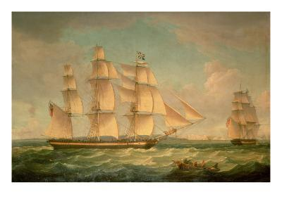 Merchantmen in a Stiff Breeze Off the Cliffs of Dover-Thomas Whitcombe-Giclee Print