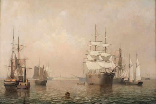 Merchantmen Off Boston Harbor, 1863-Fitz Henry Lane-Giclee Print